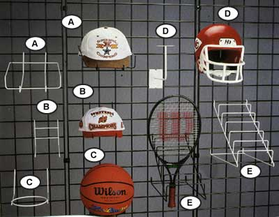 Photo of Gridwall Diplays for Hats, Helmets, Tennis Rackets and Soccer and Basket Balls